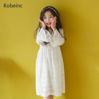 Kobeinc 2017 New Girls Dress Solid White Vestidos Infantil Spring Autumn Hollow Long Sleeves Clothes Lace