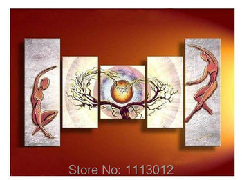 Hand Painted Nude Women Sun Loving Tree Abstract Home Wall Art Decor Landscape Oil Painting On Canvas 5pcs/set For Living Room