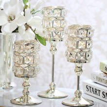 High Quality Crystal Candlestick Luxury Silver Wedding Deco Candle Holder Handmade Home Decorative