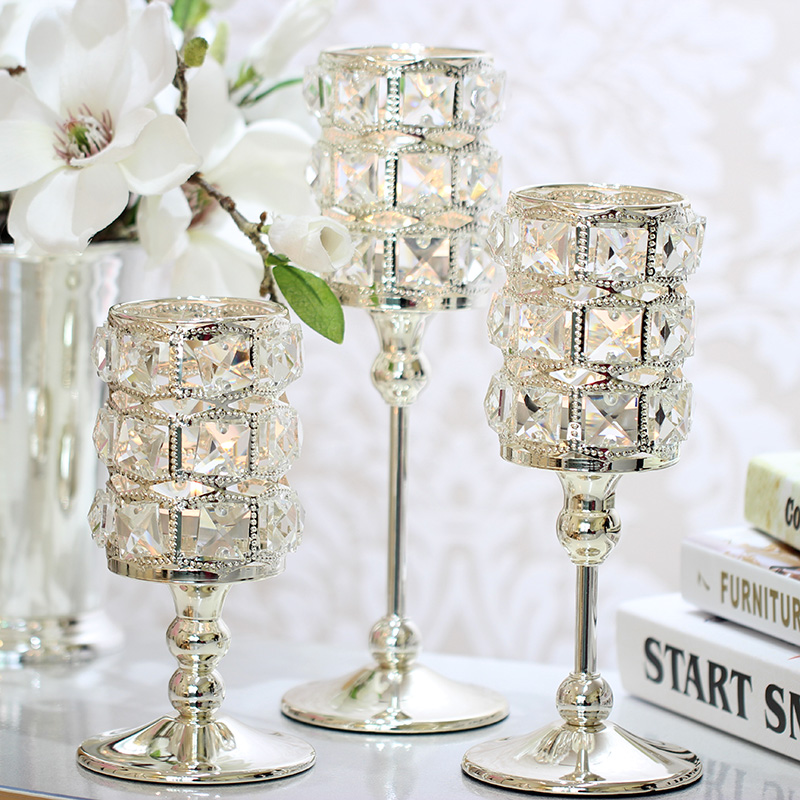 Home Decorative Crystal Candlestick Luxury Crystal Silver Wedding Decor Candle Holder Handmade Crystal Tealight Candle Holders image