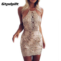 Gtpdpllt Off Shoulder Summer Dress Women 2017 Embroidery Halter Bodycon Gold Beach Dress Sexy Party Dresses