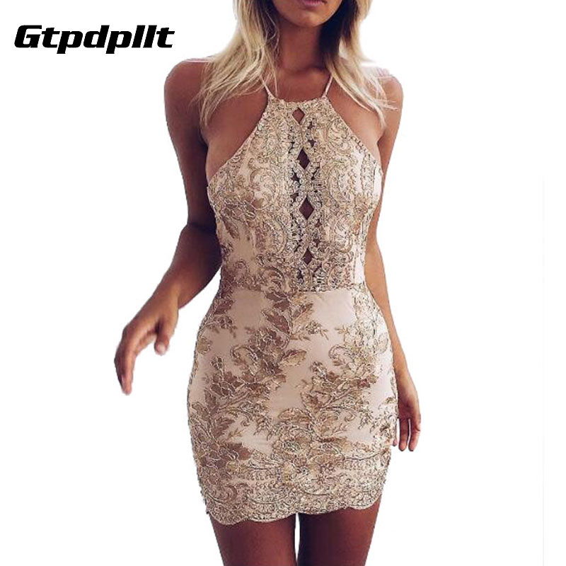 e9bfb0cc50d2f US $17.84 37% OFF|Gtpdpllt Spaghetti Stpap Summer Dress Women Embroidery  Halter Bodycon Beach Dress Sexy Party Dresses Vestidos bandage clothes-in  ...