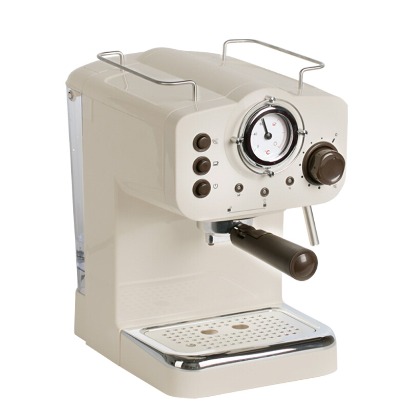 Cafetiere expresso 15Bar Pompe Pression machine à café Rétro Italien Machine À Café Blanc Semi-Automatique Commerciale mousseur à lait