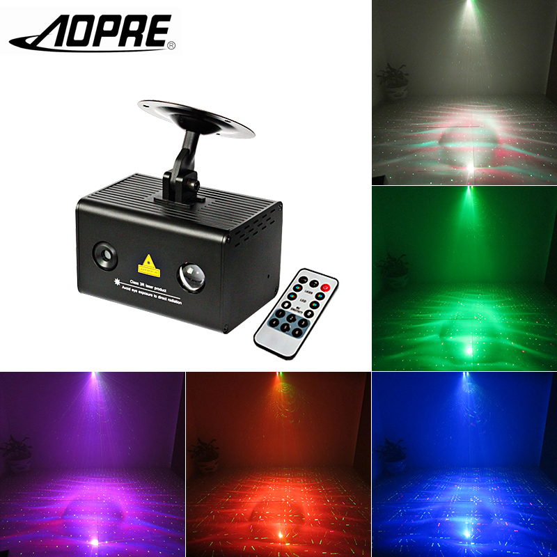 AOPRE Laser Projector Light Mini Stage Lighting Effect Led Source Dj Disco Party Decoration Manual Remote Control Lamp LL0900 mini rgb led party disco club dj light crystal magic ball effect stage lighting