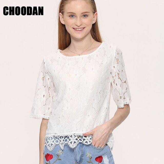 fdecd73be087 € 9.82  Encaje blanco blusa camisa mujeres casual tops 2018 verano nueva  moda Coreana de manga corta ahueca hacia fuera las camisas femeninas en ...