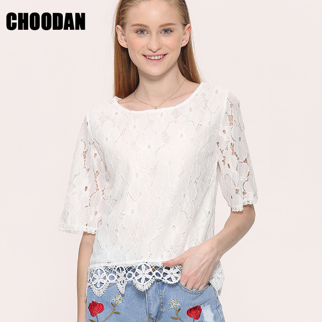 853b6e15321 White Lace Blouse Shirt Women Casual Tops 2018 Summer New Korean Fashion  Short Sleeve Hollow out Lace Floral Shirts Female
