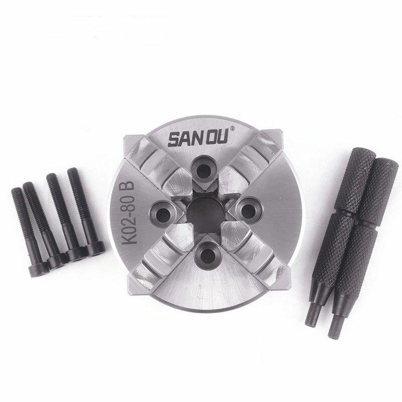 80mm 3 inch Lathe Chuck four Jaw mini Self Centering SANOU K02 80B for CNC Wood