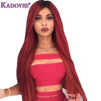 Бразильский прямые волосы 1B бордовый Синтетические волосы на кружеве человеческих волос парики предварительно сорвал с ребенком волос 13x4