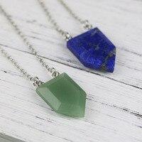 Dropship Hot Choker Necklace Women Pentagon Natural Stone Green Aventurine Pendant And Lapis Lazuli Necklace Wholesale