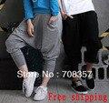 Бесплатная доставка Jazz Dance Костюм Блудниц и Мужчины с Низкой Талией хип-хоп танцев брюки Капри Харен брюки M, L, XL