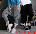 Free shipping Jazz Dance Costume Loose Women and Men Low Waist hiphop dance trousers Capris Haren pants M,L,XL