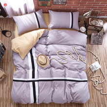 home textile brief bedding set queen king size gray purple duvet cover bed sheet linen bedspread