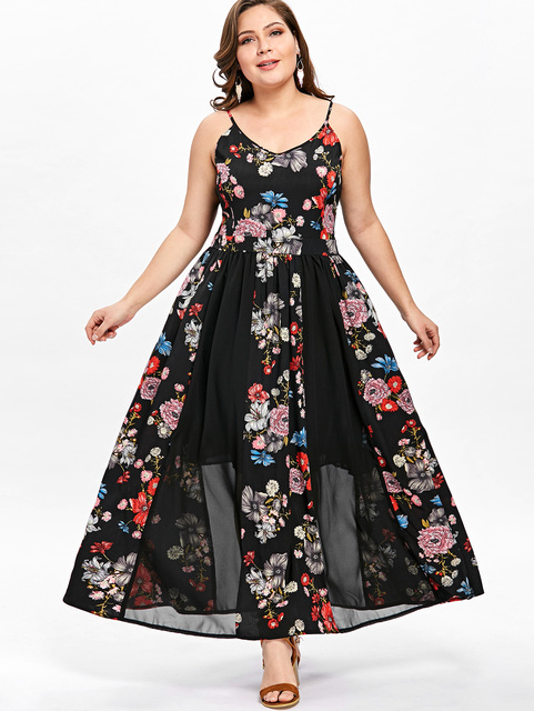 Gamiss Summer Beach Dress Plus Size Floral Flowy Bohemian Dress