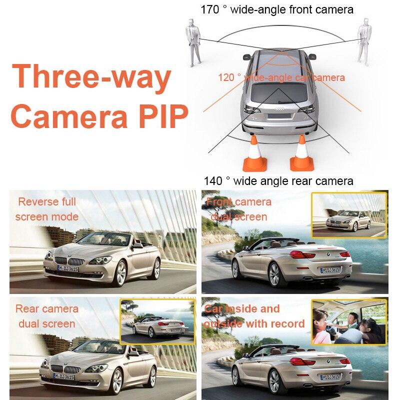 4.0 IPS Screen HD 1080P 3-CH Car Recorder DVR Dash Camera G-Sensor Cyclic Recording with 170 Degree Night Vision Rear Camera