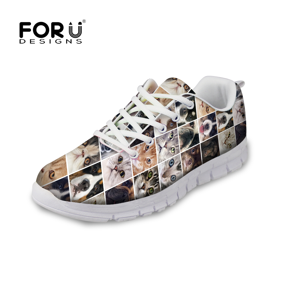 ФОТО Spring Autumn Lady Comfortable Walking Shoes Cute Cat Dog Print Trainer Casual Shoes Women Breathable Female Flat Jogging Shoes