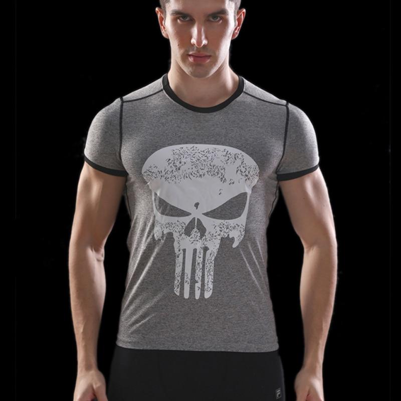 Nuova Camicia di Compressione di Fitness Uomini Punisher Skull T Shirt Superhero Bodybuilding Stretto Manica Corta T camicia di Marca di Abbigliamento Tops