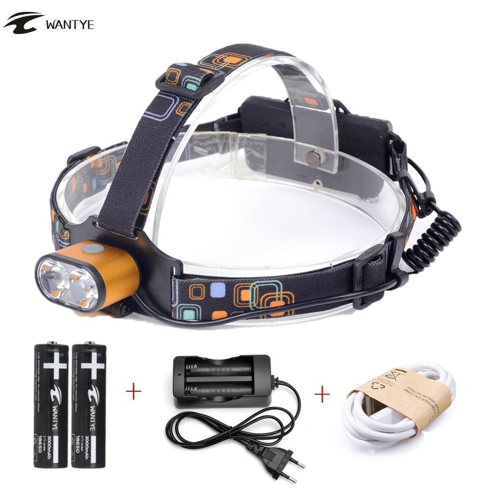 USB LED Far 18650 Lampa de cap 6000LM 2 XML T6 Lanternă cu lanternă cu 3 moduri Lampa de camping în aer liber