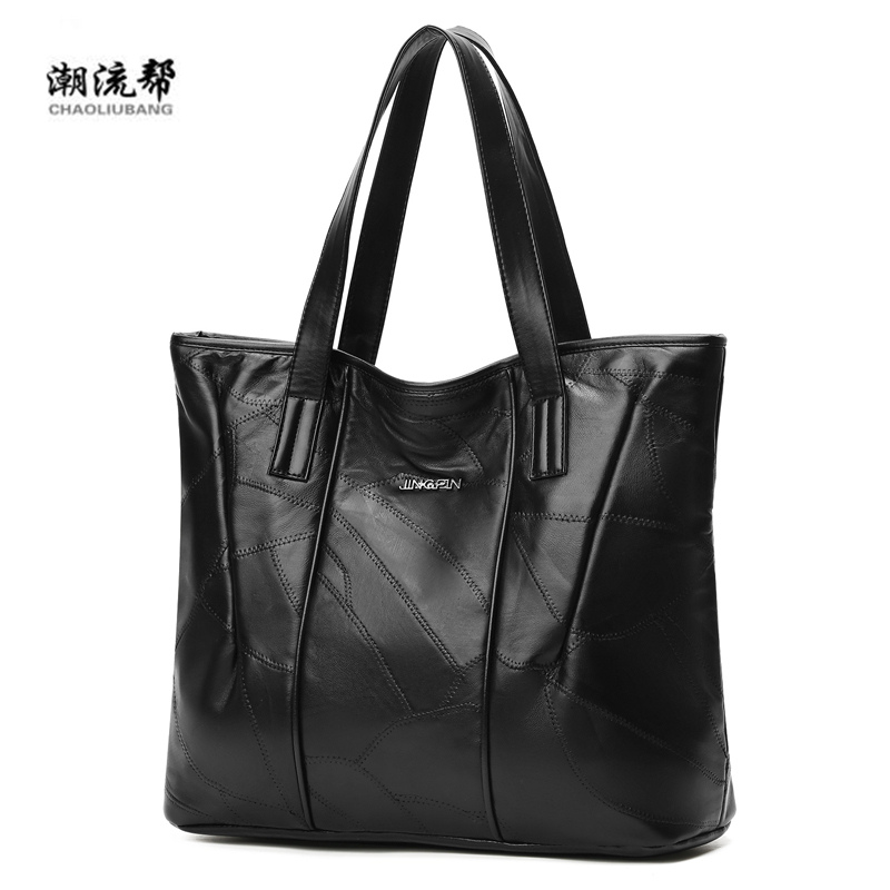 Handbag Shoulder-Bag Stitching Sac Sheepskin Main Women Shopper Vintage Designer Tote Luxury