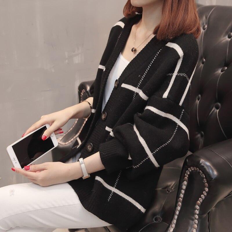 2019 femmes à manches longues tricoté Cardigan chandail avec boutons dames automne hiver 2019 nouveau surdimensionné cachemire chandails manteau XXXL - 6