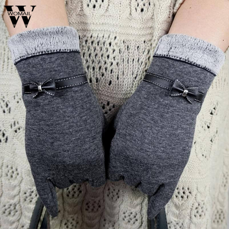 1 Pair Fashion Bow Full Finger Gloves Women Ladies Use Device While Keeping Hands Winter Glove