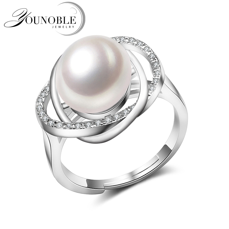 Real Freshwater Pearl Rings Women,White Black Adjustable Cultured Pearl Rings 925 Silver Jewelry Mom Birthday Gift