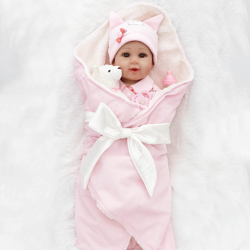 Lovely Soft Touch Reborn Baby Dolls 20'' Realistic Silicone Soft Newborn Baby with Pink Clothing kids Toy Xmas Gifts