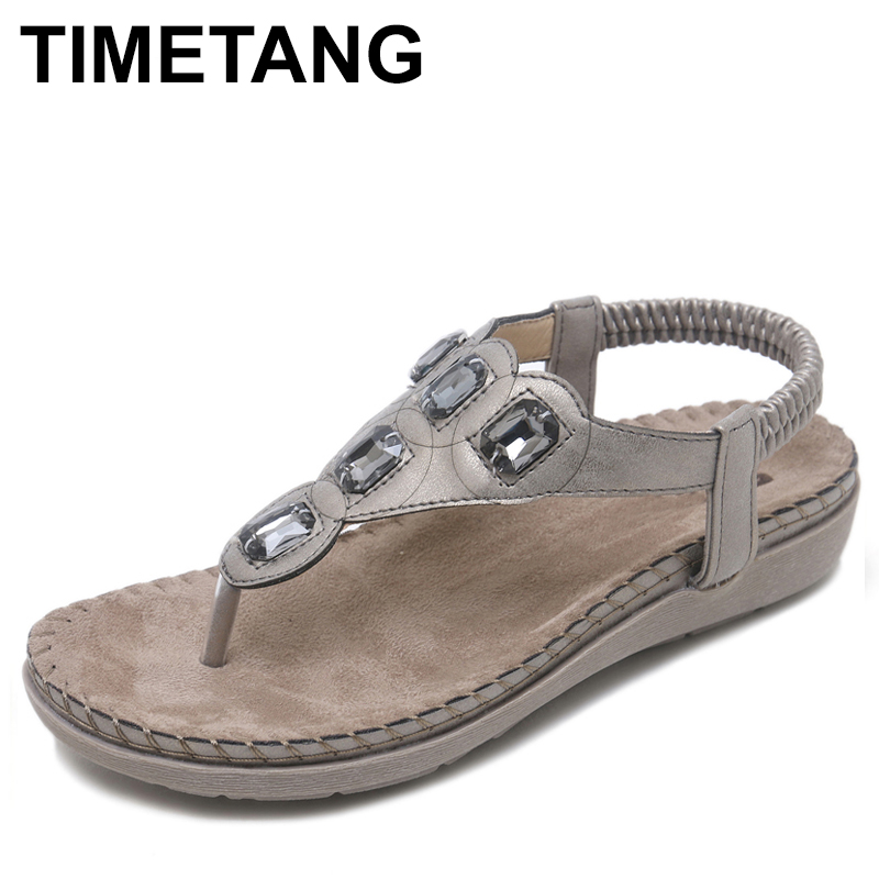 TIMETANG New Women Flat Sandals Plus Size 35-42 Fashion Crystal Woman Shoes Summer Footwear Beach Flip Flops Shoes Women goxpacer arrival fashion sandals rhinestone flats bohemia women summer style shoes women flat flip flops plus size 35 41
