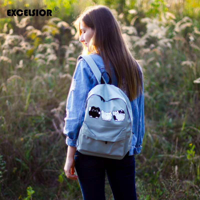 EXCELSIOR Harajuku Style Women Canvas Backpacks Teenage Girls School Bags Cartoon Cat Backpack Female travel Bag Campus rucksack women backpacks for teenage girls school campus bags vintage denim backpack travel girls shoulder bag travel backpacks