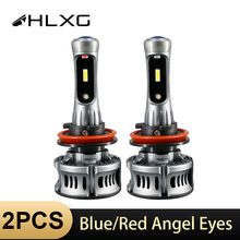HLXG H7 LED CSP headlight car lamp 9006 HB4 9005 HB3 H11 bulb blue red Projector Lens Devil Angel Eyes H8 Fog Light For toyota