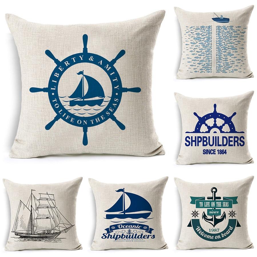Rudder Anchor Sailing Printed Cotton Linen Cushion Cover Decorative Pillowcase Use For Home Sofa Car Office Almofadas Cojines