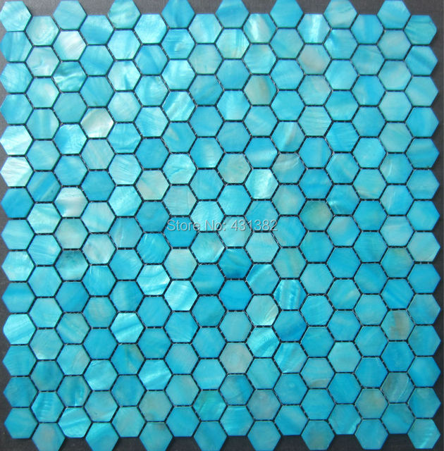 20mm Blue Hexagon Shell Mosaic Tiles Mother Of Pearl Tile Backsplash Bathroom Green