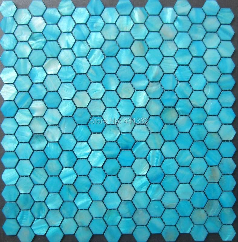 20mm blue hexagon shell mosaic tiles mother of pearl tile backsplash bathroom green wallpaper