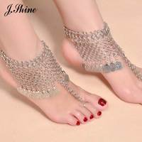 JShine Brand New Arrival Summer Bohemian Style Chain Anklets Silver Color Alloy Design Ankle Bracelet Foot