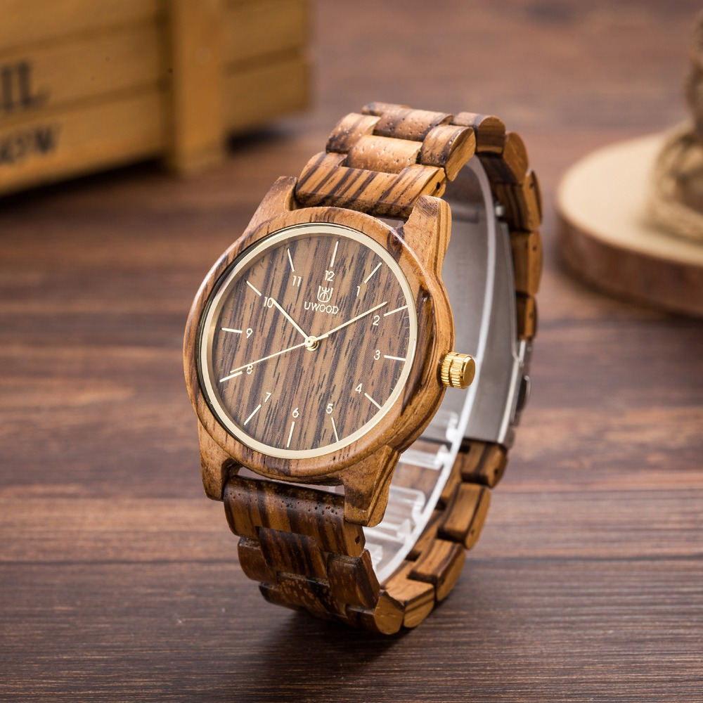 Uwood Black Sandal Wood Watches For Unisex Fashion Luxury Brand Watch 2018 Design Wooden Bamboo Wristwatches Free Drop Shipping(China)
