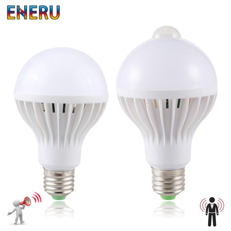 Led Bulb 3W 5W 7W 9W PIR Motion Sensor Lamp AC 220V 230V Auto Smart Led PIR Infrared Body Sound Light E27 Motion Sensor Light