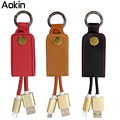Aokin Leather Key Chain USB Cable for iPhone 5 5s 5c 6 6s 7 Plus Micro USB Key Ring Cable for Samsung HTC Data Line Charger