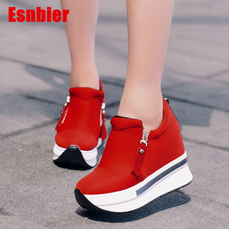 Women Sneakers Fashion Women High Heels Breathable Slip On Wedges Sneakers Platform Shoes Canvas Women Shoes
