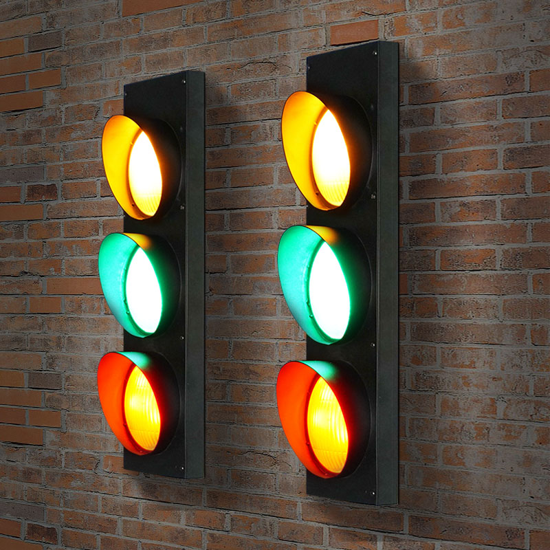 Industrial Wind Creative Retro Restaurant Cafe Bar LED Traffic Light Caution Wall Lamp