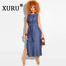 XURU Summer New Womens Dress Sexy Sleeveless High Split Denim Dark Blue Light Black