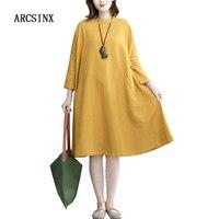 ARCSINX Oversize Women Dress Autumn Casual Yellow Sheer Long Sleeve Women Dresses Plus Size 4XL 5XL