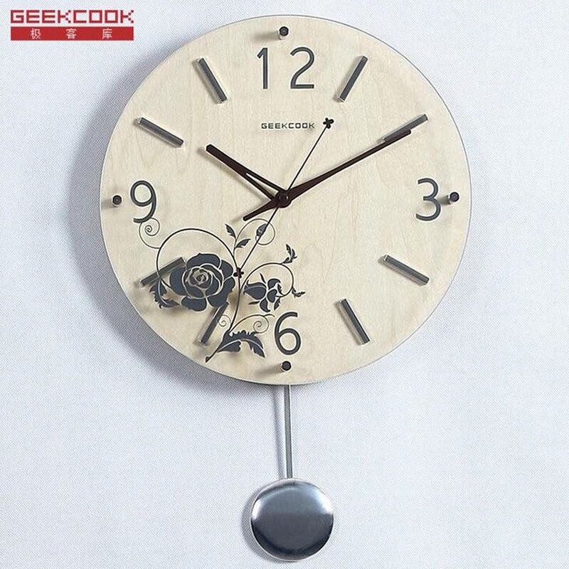 12 pouce Grand Mur De Bois Pendule Horloges À Quartz Oscillant Montre Silencieux Pas de Tic-Tac Classique pour le Salon Décoration de La Maison