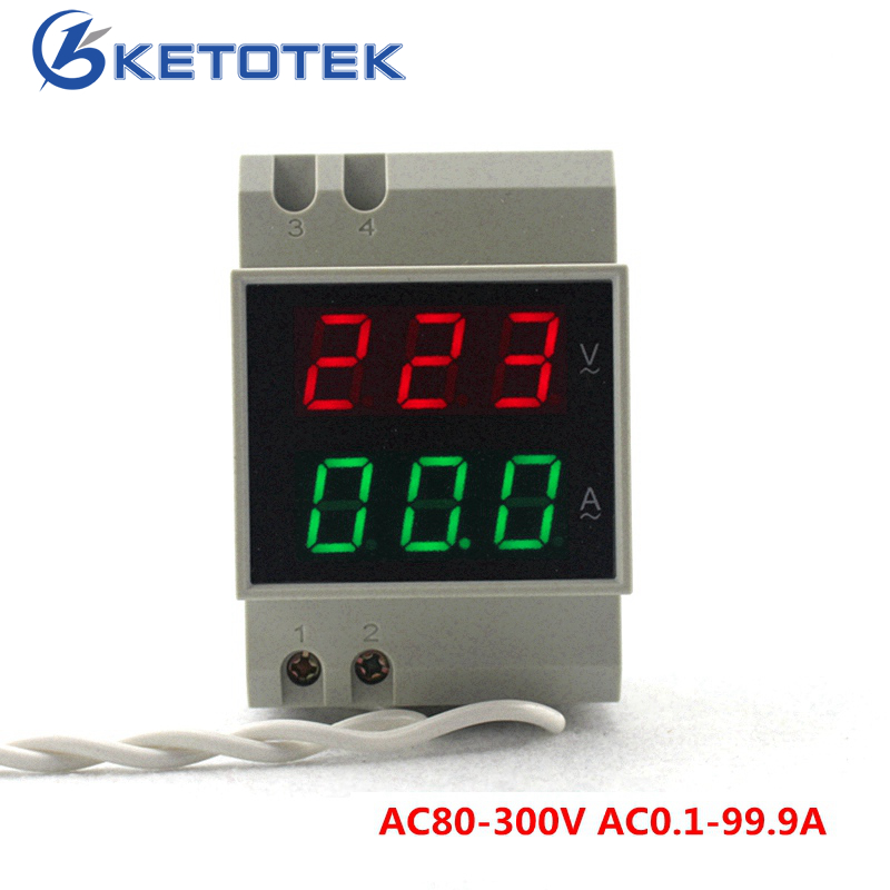 Din Rail Dual Led Display Digital AC Voltmeter Ammeter Voltage Ampere Meter Volt Current Panel Tester AC80-300V 0.1-99.9A 6l2 v panel ac voltmeter black white 0 450v