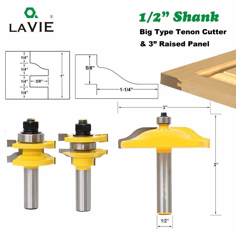 Cortador de Lâmina Faca para Ferramentas de Madeira Shank 3pcs Grande Cimácio Rail & Stile 3 Painel Gabinete Router Bit Definir Porta Tenon 03133 12mm 1 – 2