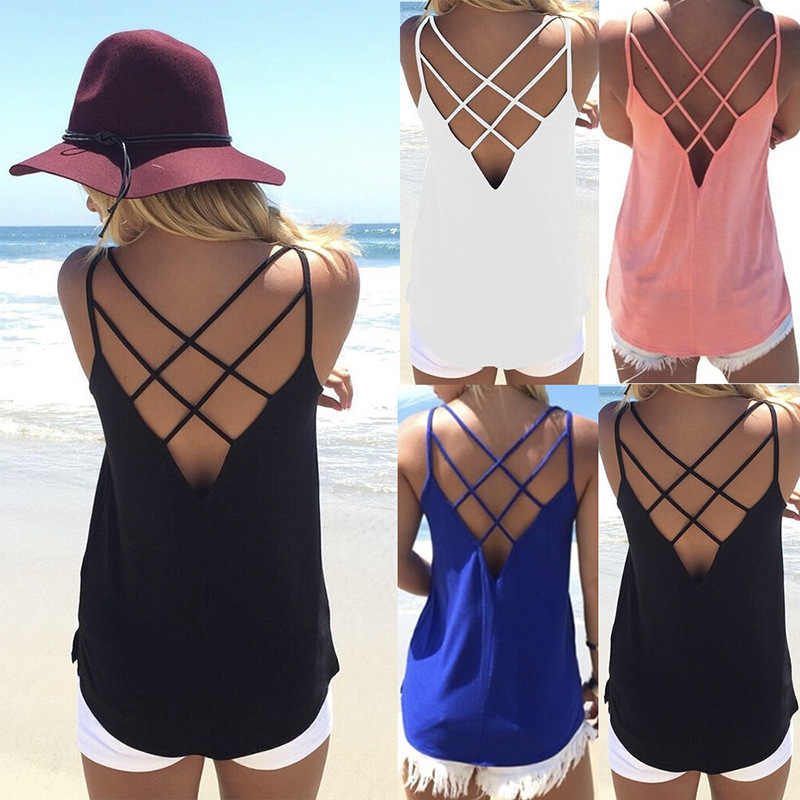 T 셔츠 여성 2020 패션 판매 뜨거운 스타일 여름 새로운 유럽 섹시한 backless 크로스 작은 조끼 tshirt vestidos lx1250