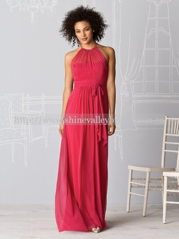 Elegant Halter Neckline Chiffon Bridesmaid Dresses Red Maid Of Honor Dress Custom Color And Size In From Weddings Events On