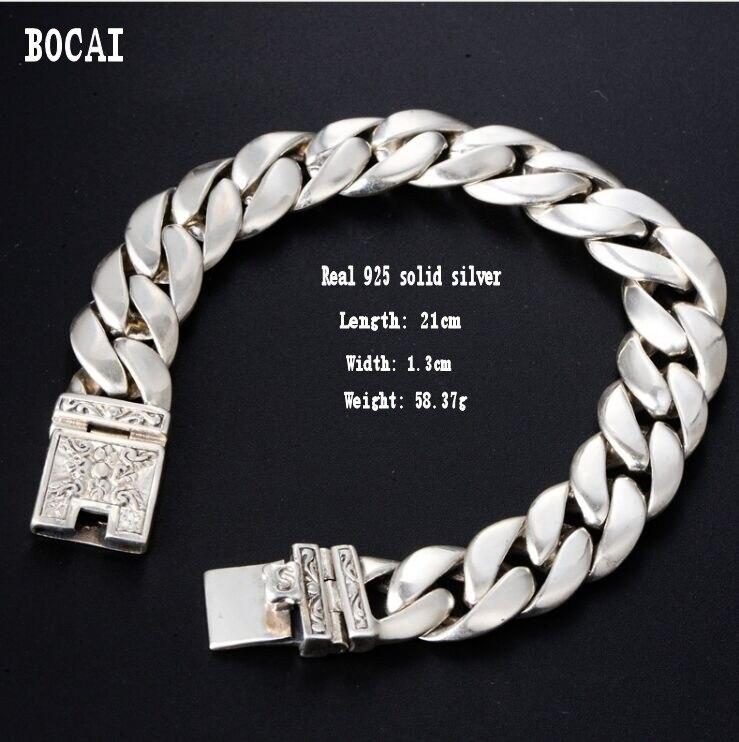Réel 925 argent massif rétro minimaliste élégant loquet fermoir totem hommes Thai argent bracelet