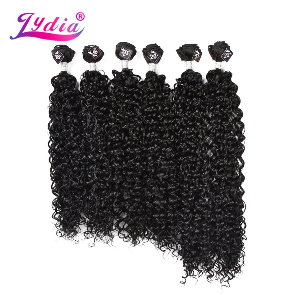 Lydia Hair Bundles Synthetic Sew In Wave Hair Extensions 18-22 Inch 6pcs/Pack Kinky Curly Weaving Full Head Hair Wefts For Women