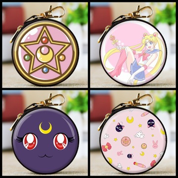 Anime Sailor Moon Cosplay Prop Star Prism Pink Mini Wallet Case Keychain Pink Girl Coin Purse Cat Moon Round Zipper Wallet