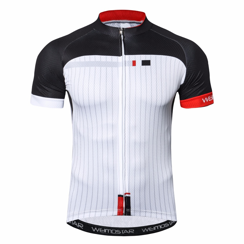цена Weimostar White Cycling Jersey Maillot Ciclismo Shirt Breathable short sleeve Men's Cycling Clothing Pro Team MTB Bicycle Jersey онлайн в 2017 году