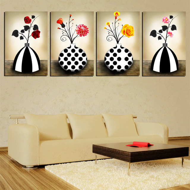 4 Panel Abstract Wall Picture Vintage Vase Decor Painting Red Yellow ...